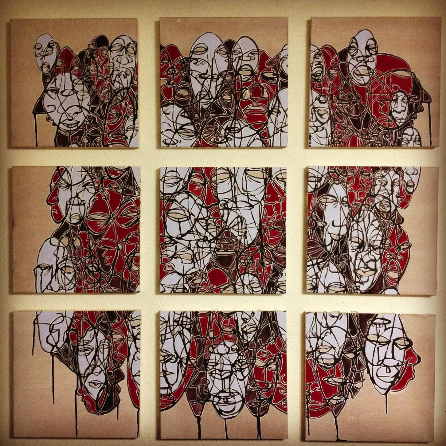 Untitled. December 2011 - January 2012. Nine 30 x 30 cm panels . Acrylic and ink on wood panel SOLD
