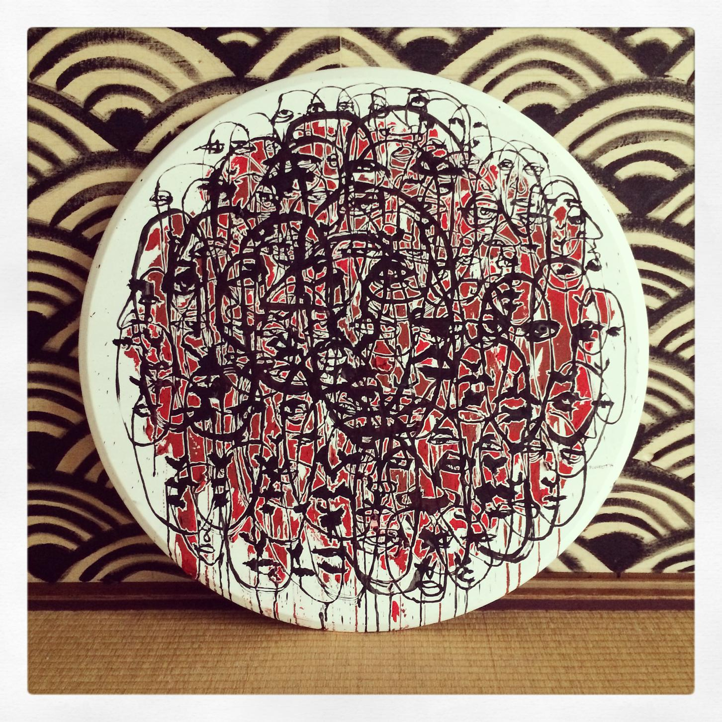 Untitled. September 2014. 75cm diameter. Ink, gouache and correction fluid on table top